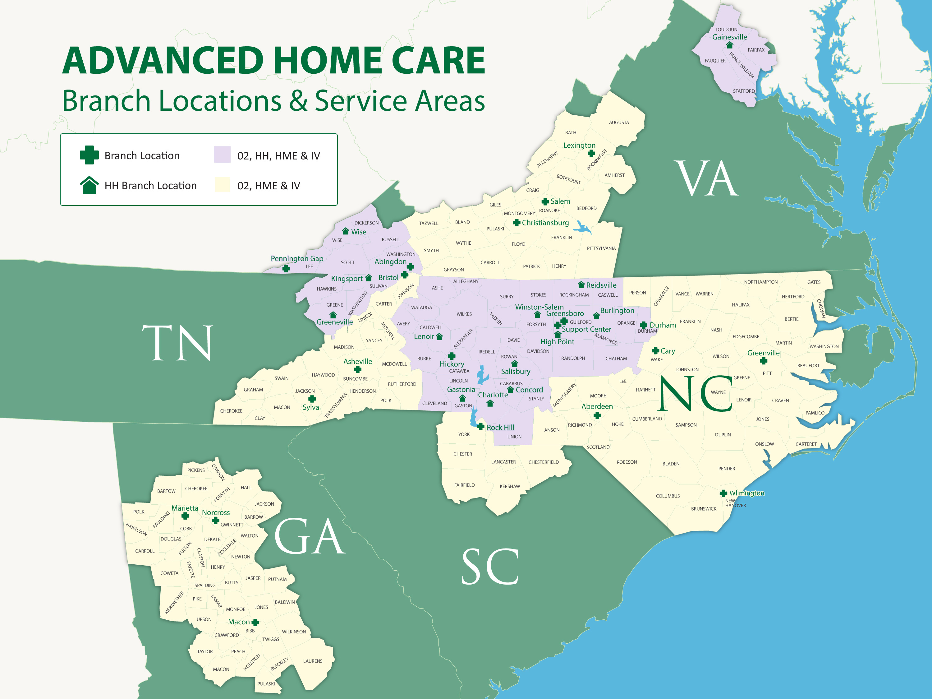 Map showing Advanced Home Care Service Areas